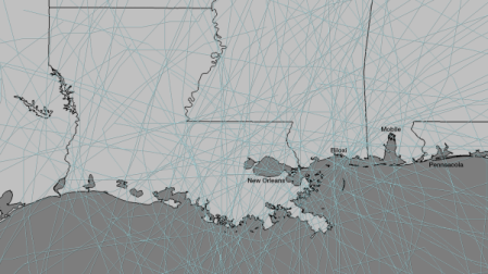 The Watchers - Tropical storm path plot shows Louisiana and Mississippi more prone to hurricane activity than other states